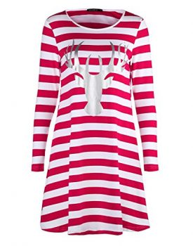 OUGES Christmas Gift Red Stripe Casual Dress