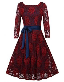 OUGES red lace dress