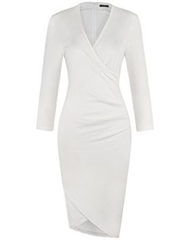 3/4 Sleeves Ruched Sheath Faux Wrap Dress